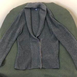 Chaps Grey Shawl Sweater